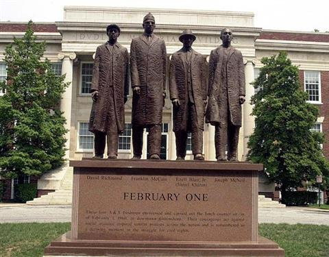 North Carolina Agricultural and Technical State University Four Statue and Dudley building